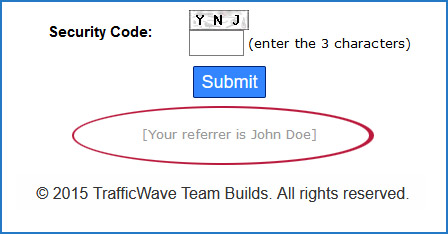 Your referrer's name is shown at the bottom of the page.